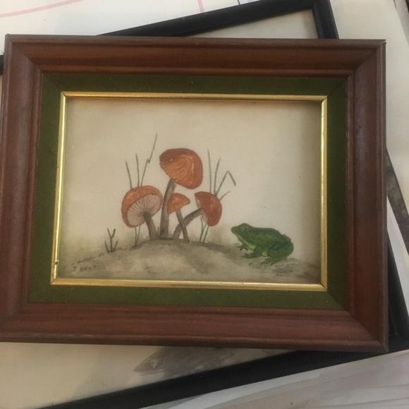 Vintage Boho Framed Frog Mushroom Print 60s 70s